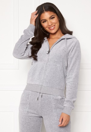 Juicy Couture Robertson Classic Velour Hoodie Light Grey Marl L