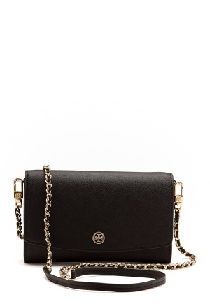 TORY BURCH Robinson Chain Wallet Black One size