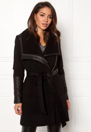 ROCKANDBLUE Funnel Clean Wool Coat Black 32