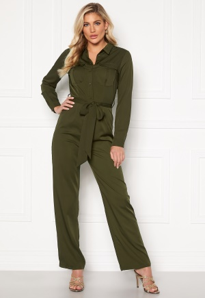 Rut & Circle Alice Workwear Jumpsuit Khaki Green L