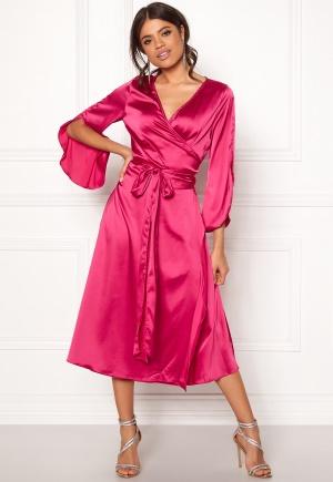 Rut & Circle Fab Wrap Long Dress Hot Pink L