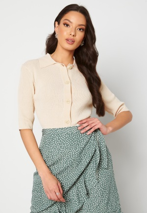 SELECTED FEMME Ally SS Knit Poloneck Sandshell L