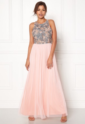 AngelEye Sequin Bodice Maxi Dress Pink/Grey S (UK10)