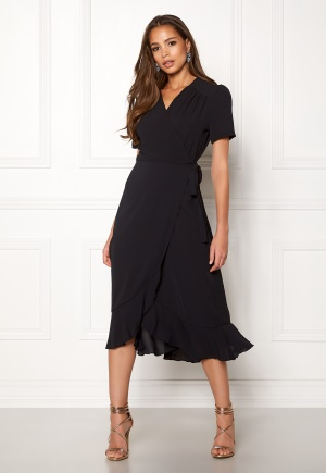 Image of John Zack Short Sleeve Wrap Dress Black XL (UK16)
