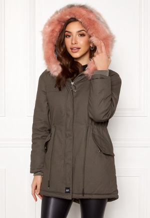Sixth June Parkas Faux Fur Jacket Grey/Stone Pink L