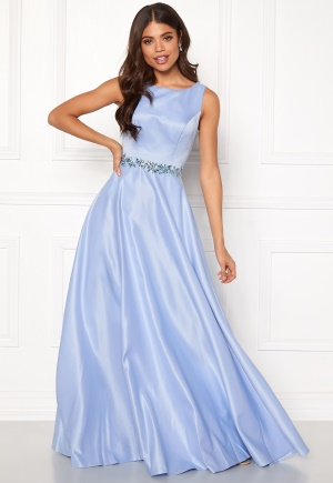 SUSANNA RIVIERI Ceremonial Satin Dress Ice Blue 38