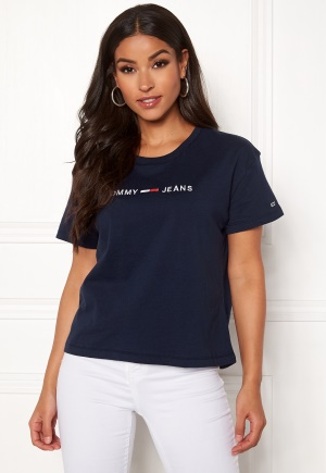 TOMMY JEANS Clean Linear Logo Tee 002 Black Iris XS