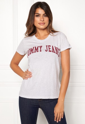 TOMMY JEANS Clean Logo Tee Pale Grey Heather S