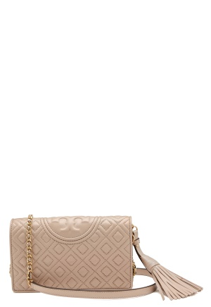 TORY BURCH Fleming Wallet Cross-Body Light Taupe One size