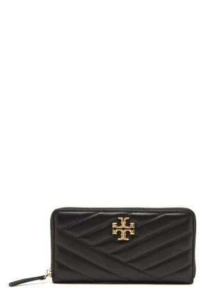 TORY BURCH Kira Chevron Zip Wallet Black One size