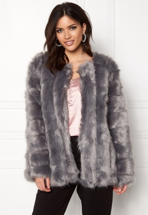 Urban Mist Plush Faux Fur Coat Grey M