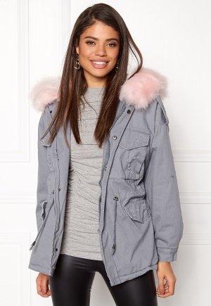 Urban Mist Plush Faux Fur Parka Grey/Pink M (UK12)