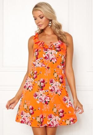 VERO MODA Ane S/L Frill Short Dress Sun Orange XS