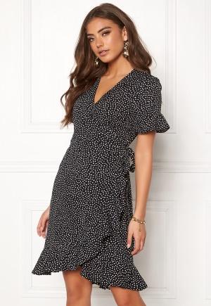 VERO MODA Henna 2/4 Wrap Dress Black/Dots S