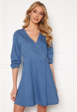 VERO MODA Henna 3/4 Wrap Dress Light Blue Denim XL