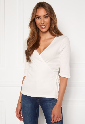 VERO MODA Hope 2/4 Rib Wrap Top Snow White S