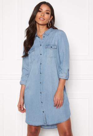 VERO MODA Silla LS Short Dress Light Blue Denim XS