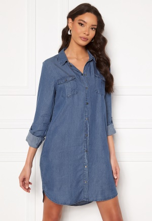 VERO MODA Silla LS Short Dress Medium Blue Denim XL