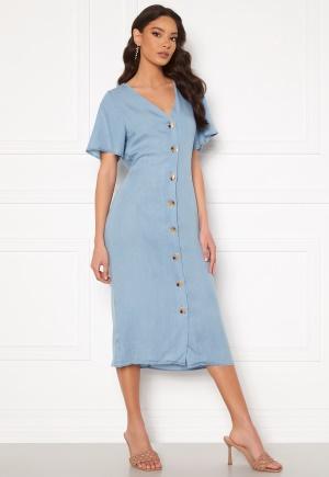 VERO MODA Viviana Ss Calf Dress Light Blue Denim XL