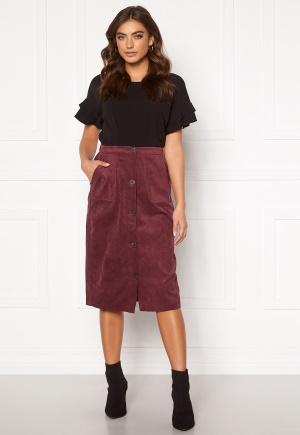 VILA Josy Button HW Skirt Tawny Port 40