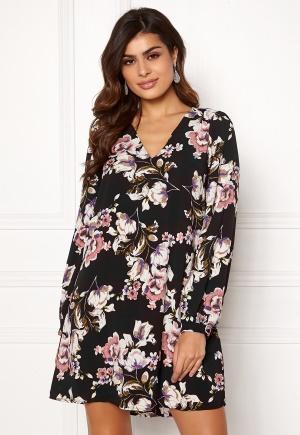 Image of VILA Lienna L/S Dress Black W. Flower Prin 38