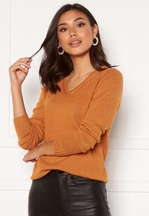 VILA Ril L/S V-neck Knit Top Pumpkin SpiceMelange S