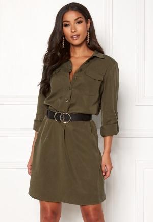 VILA Safarina L/S Dress Dark Olive 42