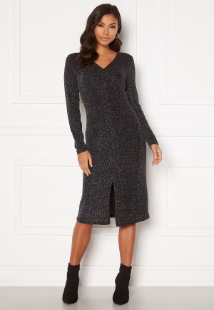 VILA Shinni L/S Glitter Lurex Dress Black, Detail: Silve S