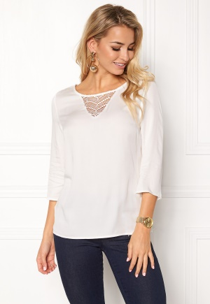 VILA Sommi 3/4 Sleeve Lace Top Snow White XL
