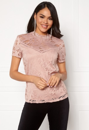 VILA Stasia S/S Lace Top Pale Mauve XL