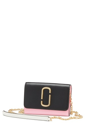 Marc Jacobs Wallet On Chain Black Baby Pink One size