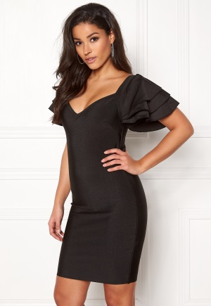 WOW COUTURE Martha Ruffle Dress Black L