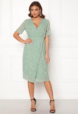 Y.A.S Beado Sequin S/S Dress Granite Green S