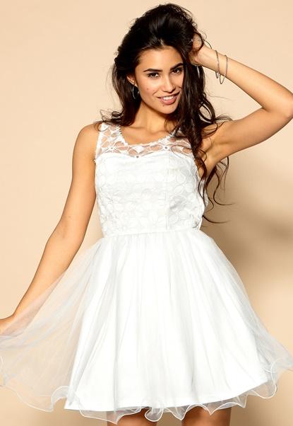 Model Behaviour Emelie Dress White Bubbleroom.se