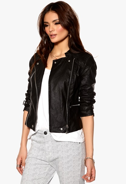 VILA Favoris Biker Jacket Black Bubbleroom.se