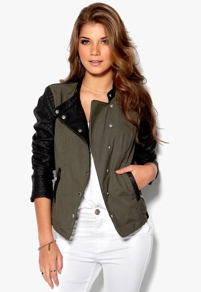 ONLY Licens PU Jacket Black/Green Bubbleroom.se