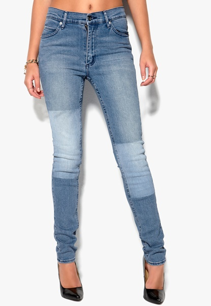 CHEAP MONDAY Second Skin Jeans Printed Patch Blue Bubbleroom.se