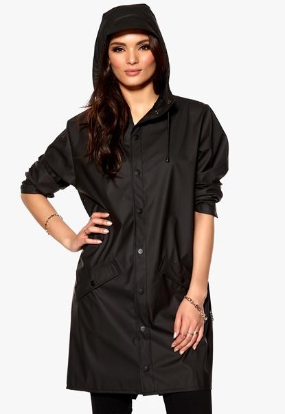 Rains Long Jacket Black Bubbleroom.se