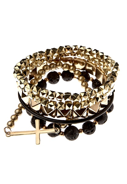 Pieces Olina Bracelets Gold/Black Bubbleroom.se