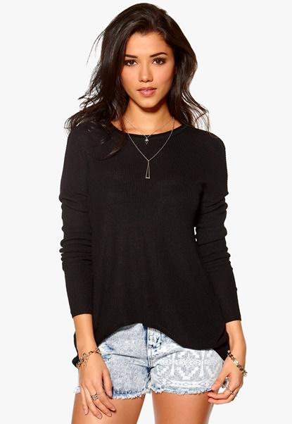 Y.A.S Crop Knit Pullover Black Bubbleroom.se