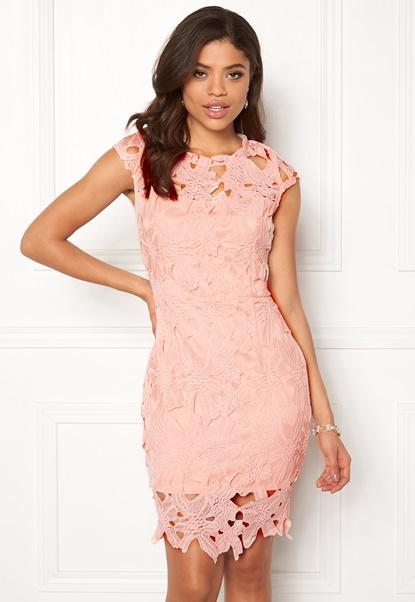 AX Paris Cap Sleeve Crochet Dress Pink Bubbleroom.dk