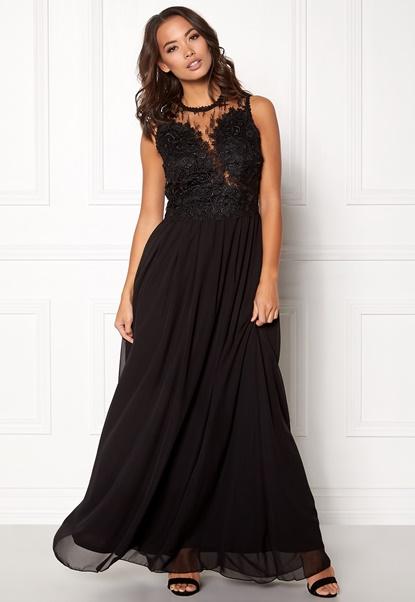 AX Paris Crochet Top Maxi Dress Black Bubbleroom.dk