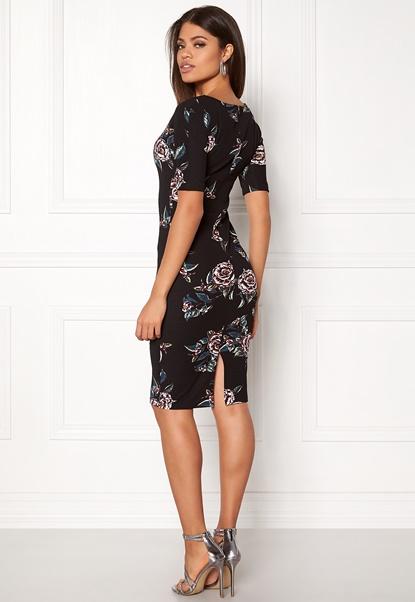 AX Paris High Neck Lace Midi Dress Black Bubbleroom.dk