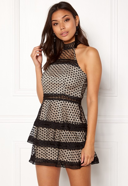 AX Paris High Neck Ruffle Dress Black/nude Bubbleroom.dk