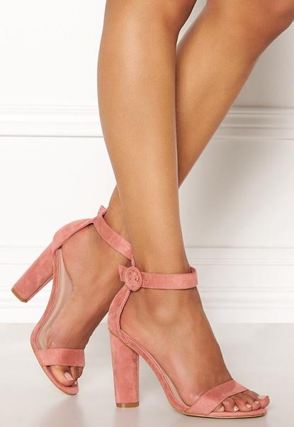 AX Paris Thin Buckle Strap Sandals Blush Suede Bubbleroom.no