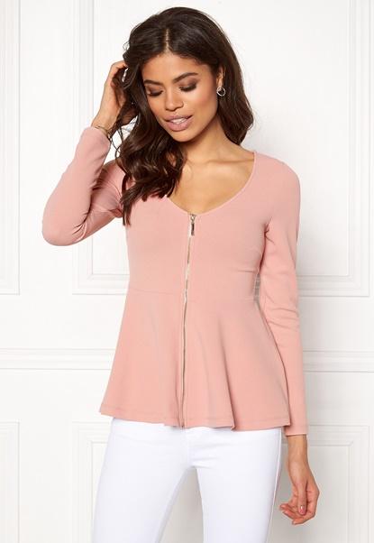 BUBBLEROOM Megan zip jacket Dusty pink Bubbleroom.se