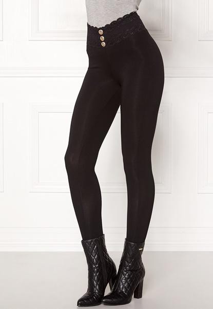 Chiara Forthi Lace button leggings Black Bubbleroom.dk