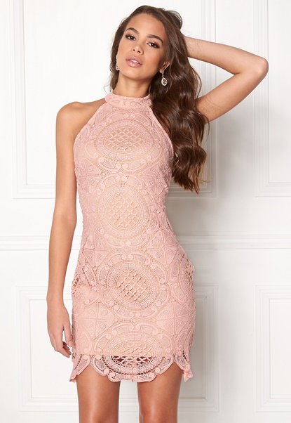 Girl In Mind Amber Lace Mini Dress Pink Bubbleroom.no