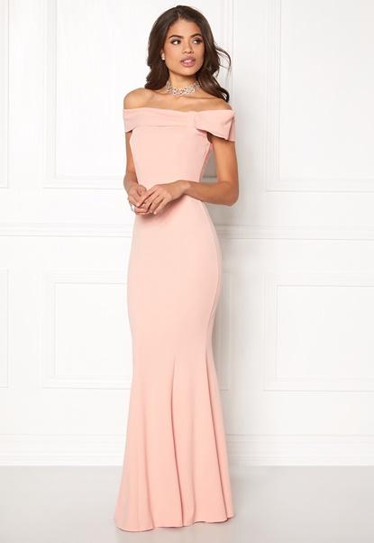 Goddiva Bardot Fishtail Maxi Dress Nude Bubbleroom.se