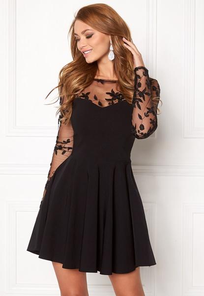 Goddiva Mesh Skater Dress Black Bubbleroom.no